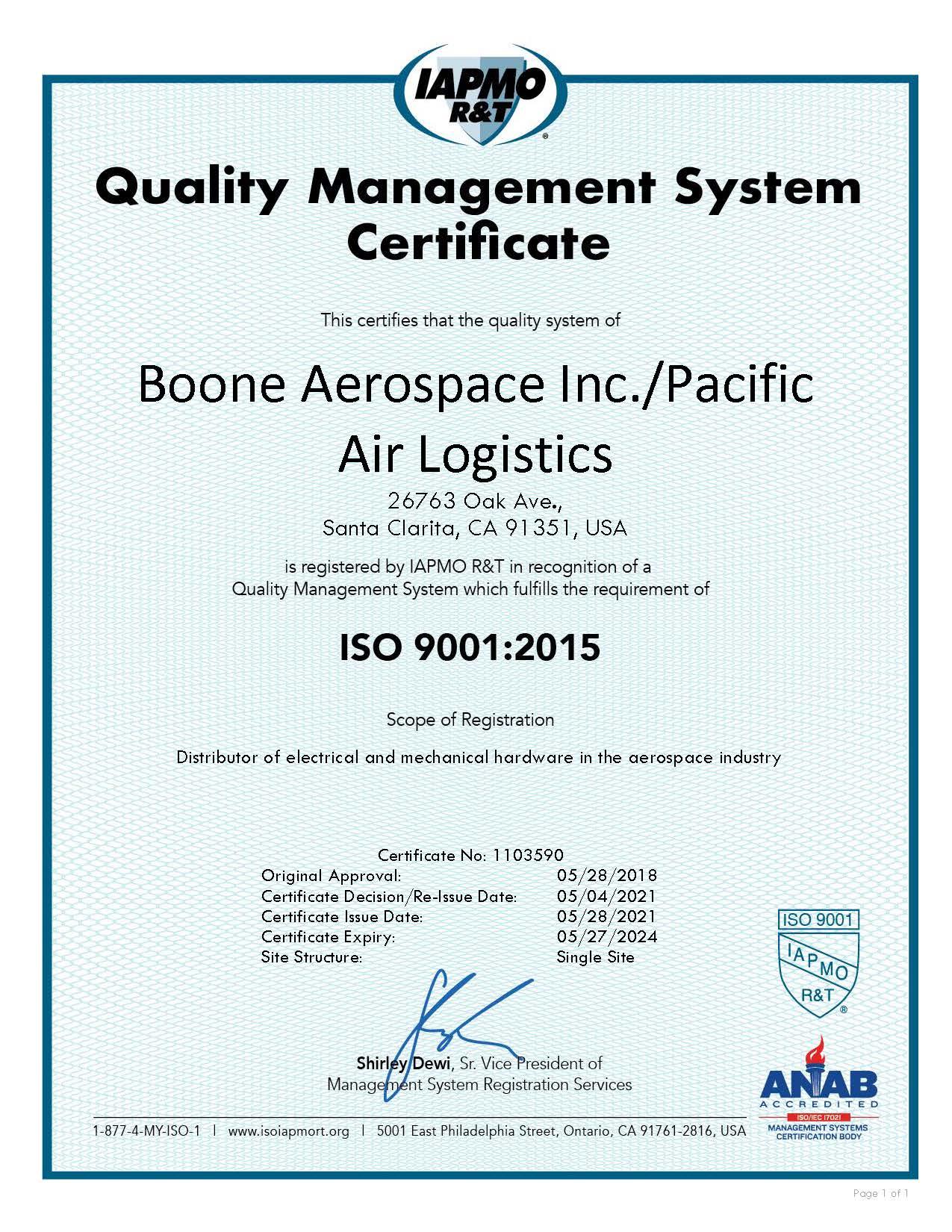 Boone-PAL ISO Cert